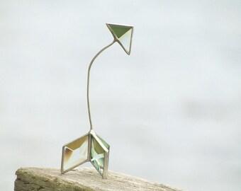 Crooked Arrow Ornament 3D Stained Glass Sculptural Geometric Suncatcher Minimalist Decor