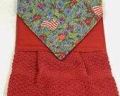 Holiday Hanging Towel, USA Kitchen Towel, Handmade Towel,  Red Kitchen Towel, Made in USA