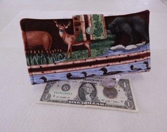 Womens Wallet, Wildlife Wallet, Handmade Wallet, Bifold Clutch Wallet, Moose, Loons, Deer Made in Maine USA, Vegan Wallet, Moose, Trees
