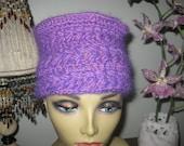 purple lavender crochet hat gypsy boho hippie kufi