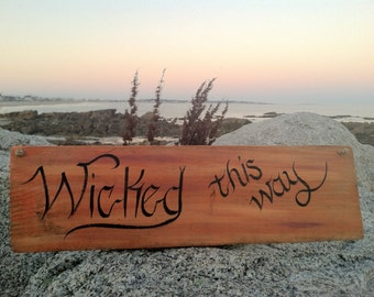 Hand Painted  Rustic Reclaimed Driftwood Halloween Wicked Witch Sign, Fall Decor, Home And Living, Wall Decor