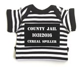 Jailbird Baby Costume, Prisoner Costume, Funny Costume, Baby Boy Bodysuit, Halloween, Cops and Robbers, Babys First Halloween