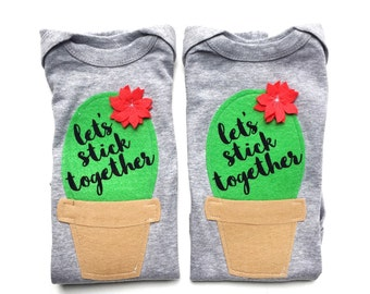 Twin Baby Gift, Twin Clothing, Let's Stick Together, Baby Clothes, Cactus Gift, Desert Lover, Mother of Multiples, Succulent Gifts, Bodysuit