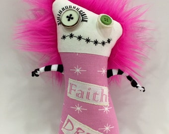 Think Pink Zombie Monster Breast Cancer Awareness Doll Softie Plushie