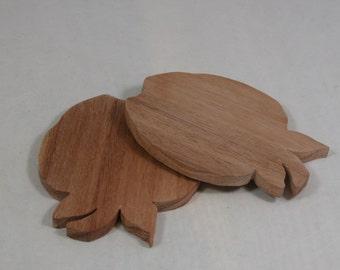 Coasters - Home Decor - Bar Accessory - 2 Apple Shape Coasters Made of Eco Friendly Wood