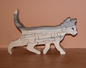 Wooden Cat Puzzle - Home or Office Decor - Feline Puzzle - Animal Theme