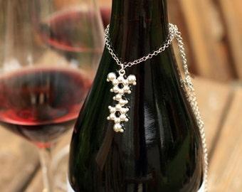 Red Wine Molecule - Resveratrol - Sterling Silver Pendant Necklace