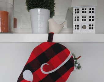 Cat Christmas stocking - cat stocking - plaid stockings - Christmas - pet - red - mouse stocking