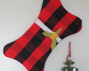 Dog Christmas Stocking - Dog stocking - plaid stocking - pet - red buffalo check