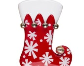 Personalized Christmas Ornament Red Stocking with snowflakes- Baby's First Christmas, Hostess Gift