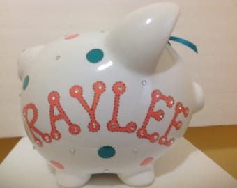 Personalized Large Piggy  Bank Coral Teal  Polka Dots-Newborns , Boys , Girls , Baby Shower Gift Centerpiece