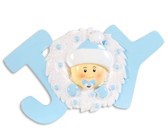 Personalized Baby Boy's  First Christmas JOY  Ornament - Newborn, Baby Shower Gift / Favor