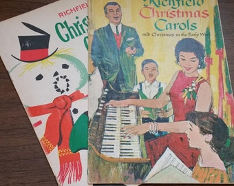 RICHFIELD CHRISTMAS CAROL Booklets, 1950's and 1960's, Vintage Holiday, Gas Station Advertising