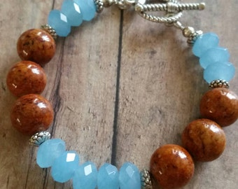 Daisy May, beaded bracelet, semiprecious gemstones, light blue quartz, western flare