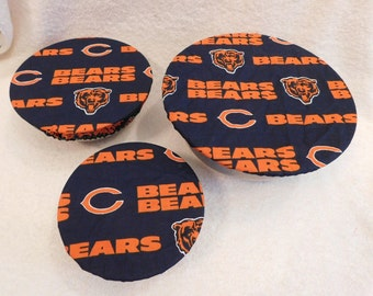 Handmade Set of Three Reusable Chicago Bears Bowl Covers, Elastic bowl cover, eco-friendly, lid cover, dish cover, picnic, food storage,