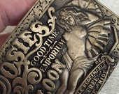 Vintage Brass ROSIE'S SALOON Rollicking Belt Buckle 1980s Reclining Nude