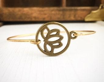 Lotus Flower Bangle Bracelet / Boho Bohemian Stacks Lover Gift Gypsy Yoga Teacher Gift Hippie Wedding Bridesmaids Bridal Party Lotus Petal