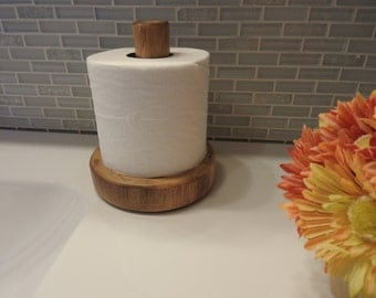 Log Countertop Toilet Paper Holder - Clear Finish
