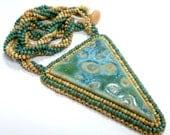 Glazed Ceramic Triangle Necklace Seafoam Turquoise Green Tan Brown