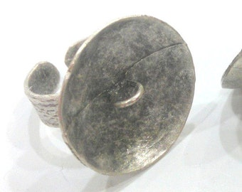 Antique Silver Plated Brass  Adjustable Ring Findings G490