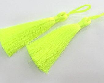 2 pcs (78 mm - 3 inches)  Neon Yellow  Tassel ,   G3889
