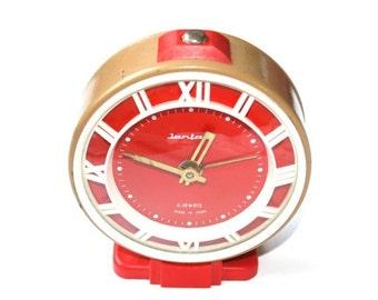25% SALE OFF Vintage alarm clock Jantar brown clock red clock