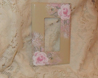 Shabby Cottage Chic Hand Painted Pale Rose Ivory/Beige Single Rocker Light  Switch Cover