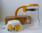 Vintage Pyrex Coffee Pot Pitcher Carafe Yellow Made in France