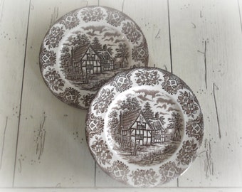 Brown Transferware Plates English Ironstone Rustic Farmhouse Chic Decor Country Living Fixer Upper Wall Plates
