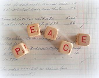 PEACE Letter Cubes Rustic Christmas Decoration Word Blocks Farmhouse Decor Peace Sign