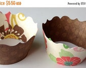 CLOSEOUT SALE Large Flower / Brown Cupcake wrappers SET of 12