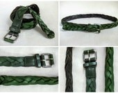 Vintage 1980s Avocado Green Braided Leather Belt, Women's Vintage Belt, 38 Inch Long Belt