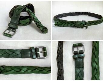 Vintage 1980s Avocado Green Braided Leather Belt, Women's Vintage Belt, 38 Inch Long Belt