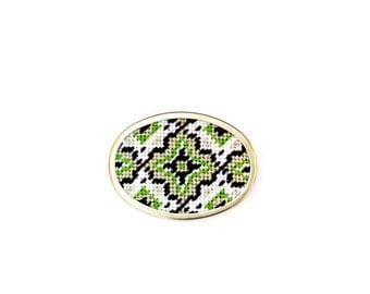 DIY Needlepoint Jewelry Kits: Medallion Pin