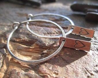 I Love U Hoops! -Medium Sterling Silver Hoop Earrings with Dangling Heart Tag