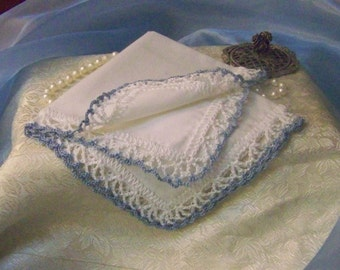 Blue Lace Handkerchief, Hanky, Hankie, Hand Crochet, Bridal, Something Blue, Embroidered, Monogrammed, Personalized, Bridal Keepsake, Lacy