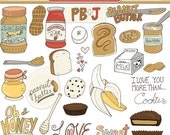 SALE - Peanut Butter & Jelly Clip Art, Sweet Treat Chocolate and Banana, Kids Recipes Clipart, Honey, Lunch Food Illustrations, Sandwich