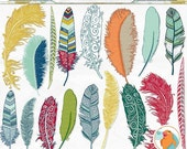 SALE - Colorful Feather Clip Art, Tribal Bird Feathers, Feather Silhouette ClipArt, Fanciful Notions, Commercial Use Graphic Download