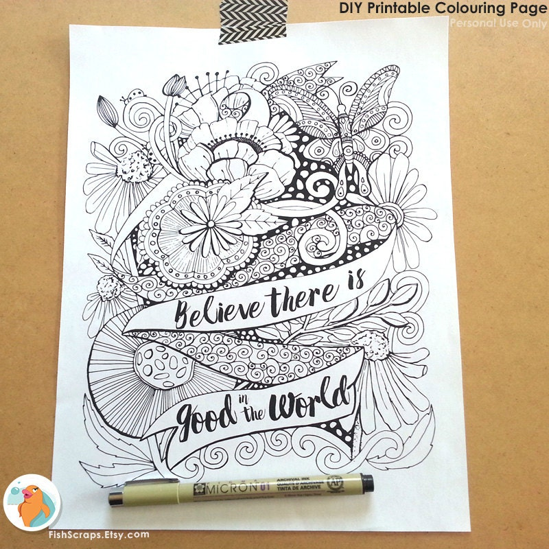 adult colouring page printable adult coloring book page inspirational quote digital illustration lineart instant download printable