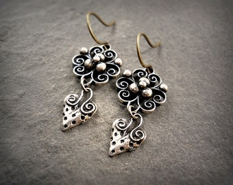 Heart & Flower Sterling Silver over Bronze Earrings Dainty Silver Earrings Simple Filigree Silver Flower Romantic Minimalist Dangle Earrings