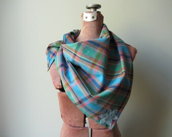 Blue and Green Plaid Triangle Scarf, Cowgirl Bandana, Plaid Boho Scarf, Repurposed Fabric Scarf, Upcycled Accessories, Tartan Plaid Scarf