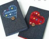 DENIM Passport Holder / Cover / Wallet. Red or Blue. Handmade in Wales, UK.