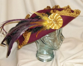 Burgundy and Gold Pirate Hat- Fancy Burgundy Wool Tricorn with Gold Trim, Rooster and Pheasant Feathers