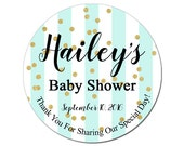 Custom Baby Shower Labels Personalized Mint Green Stripes and Gold Confetti Baby Boy or Girl Round Glossy Designer Stickers - Quantity 100