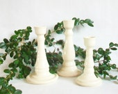 Winter White Candlestick Holders - Set of 3 -  Ready to Ship - Handmade, Thrown on the Potters  Wheel