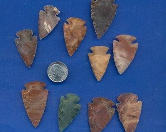 10 Knapped Stone Arrowheads Lot-301