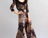 Alice Black Lace and Floral Print Off-the-Shoulder Jumpsuit