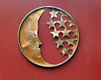 Metal Moon Stars  Barrel Lid Wall Art