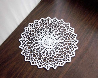 Geometric Table Decor Crochet Doily, White Lace, Modern, New Minimalist Home Decor, Fiber Art