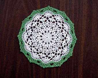 Irish Spring Crochet Lace Doily, Table Accessory, St Patricks Day Decor, New, Leaf Green and White